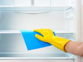 cleaning fridge