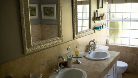 mirror over sinks in bathroom